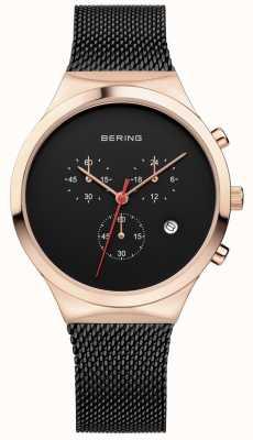 Bering Mens klassischen schwarzen Chronographen schwarzen Milanese Strap 14736-166