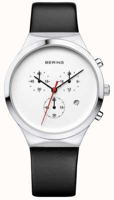 Bering Herren klassischer weißer Chronograph schwarzes Lederband 14736-404