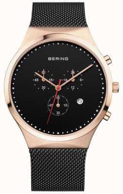 Bering Mens klassischen schwarzen Chronographen schwarzen Milanese Strap 14740-166