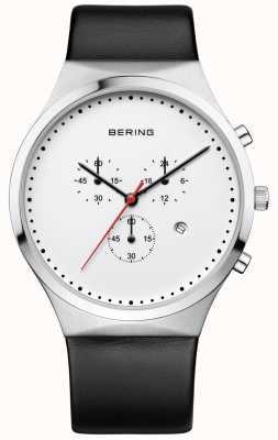 Bering Herren klassischer weißer Chronograph schwarzes Lederband 14740-404