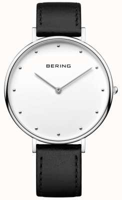 Bering Unisex klassische schwarze Lederarmbanduhr 14839-404