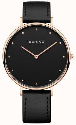 Bering Womans klassische schwarze Lederarmbanduhr 14839-462