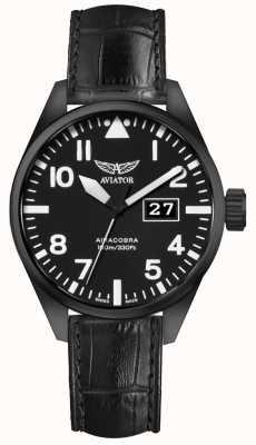 Aviator Herren airacobra p42 schwarzes Lederband schwarzes Zifferblatt V.1.22.5.148.4