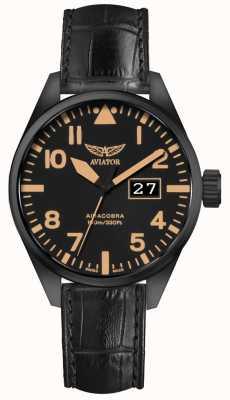 Aviator Herren airacobra p42 schwarzes Lederband schwarzes Zifferblatt V.1.22.5.157.4