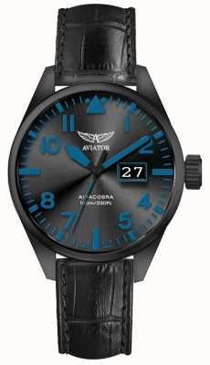 Aviator Herren airacobra p42 schwarzes Lederband schwarzes Zifferblatt V.1.22.5.188.4