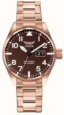 Aviator Herren airacobra p42 braun pvd überzogenes Armband braunes Zifferblatt V.1.22.2.151.5