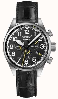 Aviator Herren airacobra p45 chrono schwarzes Lederband schwarzes Zifferblatt V.2.25.0.169.4