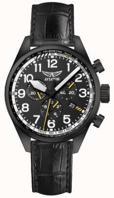 Aviator Herren airacobra p45 chrono schwarzes Lederband schwarzes Zifferblatt V.2.25.5.169.4