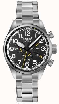 Aviator Herren airacobra p45 chrono Edelstahl Armband schwarz dia V.2.25.0.169.5