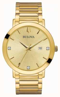 Bulova Herren Diamant-Set Gold-Ton-Uhr 97D115