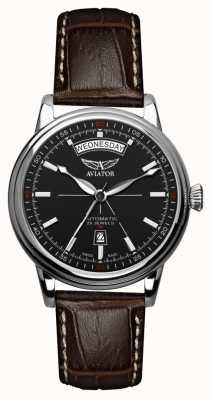 Aviator Mens douglas braunes Lederband schwarzes Zifferblatt V.3.20.0.142.4