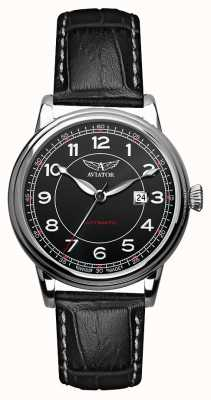 Aviator Mens douglas automatisches schwarzes Lederband schwarzes Zifferblatt V.3.09.0.107.4