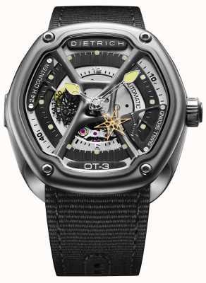 Dietrich Organisches Zeit-Satin-Stahlgehäuse schwarzes Gewebeband OT-3