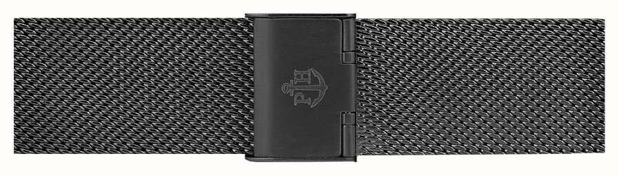 Paul Hewitt Schwarzes Edelstahlgewebe Armband 176mm PH-M1-G-5S