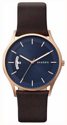 Skagen Herren braunes Leder blaues Zifferblatt Detail Uhr SKW6395