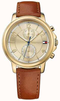 Tommy Hilfiger Womens claudia biscotto Lederuhr 1781818