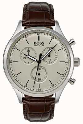 Hugo Boss Mens Begleiter Chronograph braunes Lederarmband 1513544
