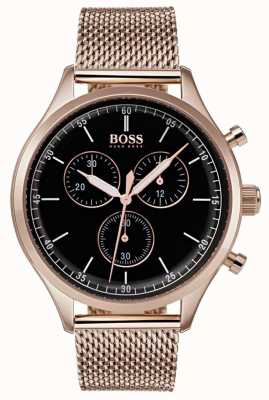 Hugo Boss Mens Begleiter Chronograph Roségold-Ton-Mesh-Armband 1513548