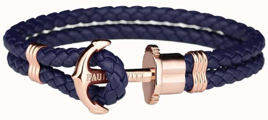 Paul Hewitt Jewellery Phrep Roségold Anker Navy Leder Armband Medium PH-PH-L-R-N-M
