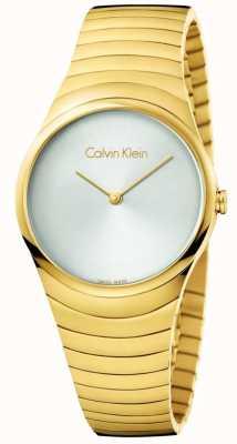 Calvin Klein Womans Gold Ton Edelstahl Whirl Uhr K8A23546