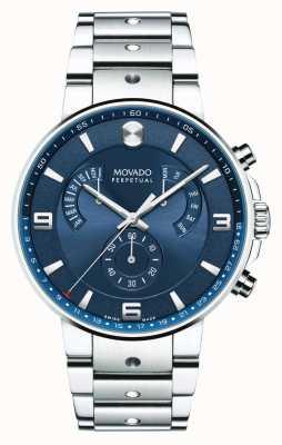 Movado Mens se pilot retrograde Uhr blaues Zifferblatt 0607129
