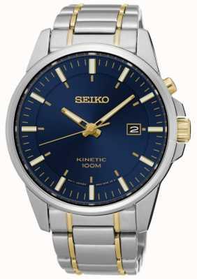 Seiko Mens kinetische zweifarbiges Armband blaues Zifferblatt SKA757P1
