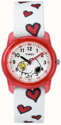Timex Jugend analoges weißes Band snoopy Herzen TW2R41600JE