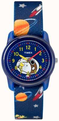 Timex Jugend analoger blauer Gurt snoopy Weltraum TW2R41800JE
