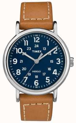 Timex Mens Weekender Tan Lederarmband blaues Zifferblatt TW2R42500D7PF
