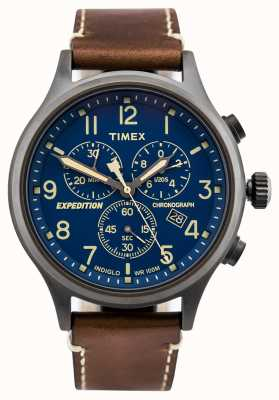 Timex Expeditionsscout Chronograph braun Armband blaues Zifferblatt TW4B09000D