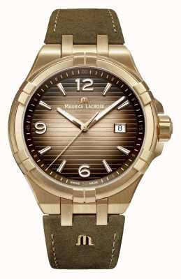 Maurice Lacroix Aikon Bronze Herren Vintage Leder Uhr AI1028-BRZ01-720-1