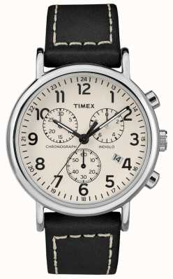 Timex Mens Weekender Chronograph schwarzes Lederarmband TW2R42800D7PF