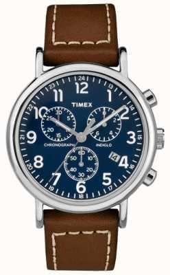 Timex Herren Wochenendchronograph braunes Lederarmband TW2R42600D7