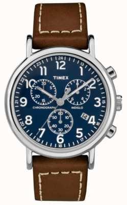 Timex Weekender Herren Chronograph braunes Lederarmband TW2R42600D7