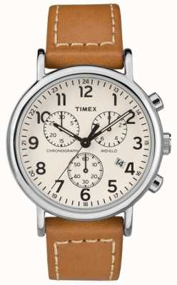 Timex Mens Weekender Chronograph Tan Lederarmband TW2R42700D7PF