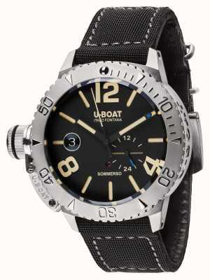U-Boat Sommerso 46 bk Automatik schwarz Kautschukband 9007