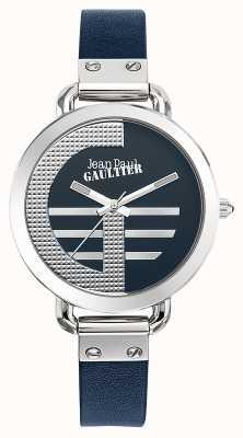 Jean Paul Gaultier Womens Index g blaues Lederarmband blaues Zifferblatt JP8504324