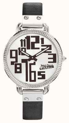 Jean Paul Gaultier Damen Index schwarzes Lederarmband silbernes Zifferblatt JP8504305