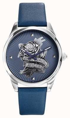 Jean Paul Gaultier Dunkelblaues, tätowiertes Lederband, blaues Zifferblatt JP8502413
