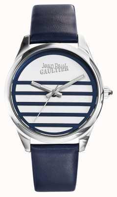 Jean Paul Gaultier Marineblaues Lederband weißes Zifferblatt JP8502409