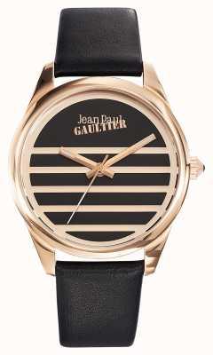 Jean Paul Gaultier Marine schwarzes Lederarmband schwarzes Zifferblatt JP8502410
