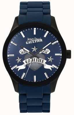 Jean Paul Gaultier Enfants terribles blaues Kautschukarmband blaues Zifferblatt JP8501124
