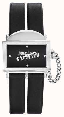 Jean Paul Gaultier Damen 325 schwarzes Lederarmband schwarzes Zifferblatt JP8501609