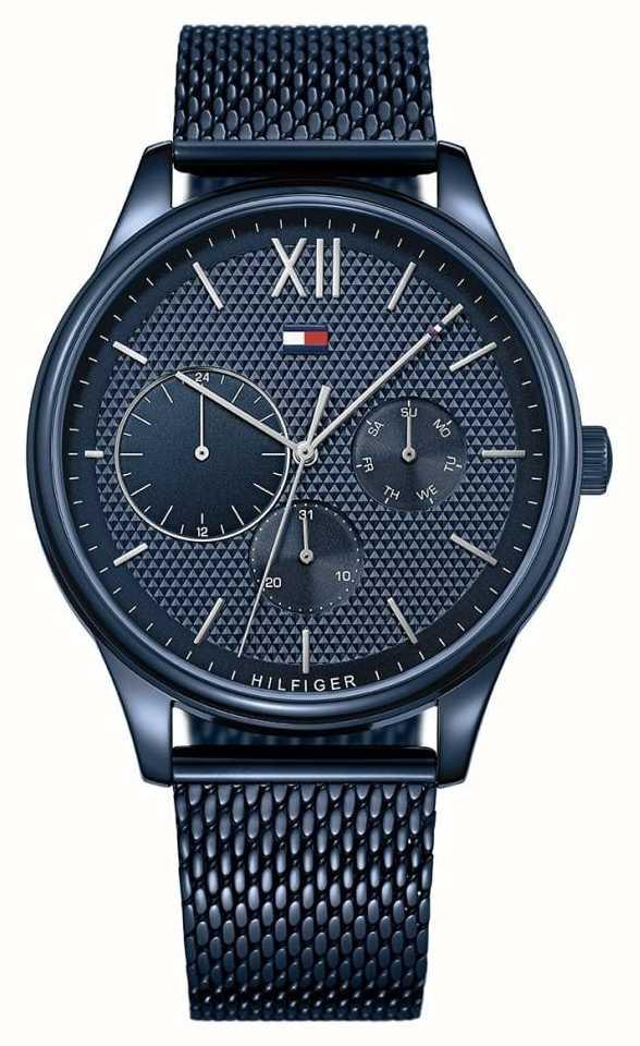 Tommy Hilfiger Blaues Zifferblatt mit Damon Blau Mesh Armband für Herren 1791421