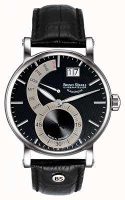 Bruno Sohnle Pesaro ii 43mm schwarze Lederuhr 17-13073-781