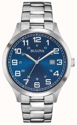Bulova Mens Dress Watch blaues Zifferblatt Edelstahlarmband 96B273