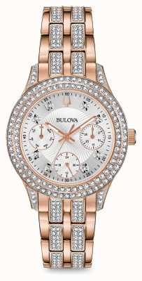 Bulova Roségoldfarbene Kristalluhr für Damen 98N113