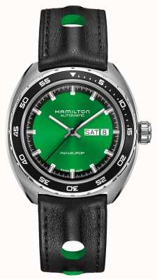 Hamilton Amerikanisches klassisches pan europa Auto grünes Zifferblatt H35415761