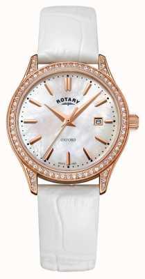 Rotary Oxford Quarzuhr Damenuhr aus Leder in Roségold LS05096/41