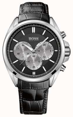 Hugo Boss Schwarze Leder Chronograph Herrenuhr 1512879